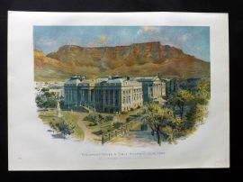Cassell 1902 Print. Parliament House & Table Mountain, Cape Town, South Africa